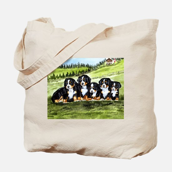 Bernese Moutain Dog Puppies Tote Bag