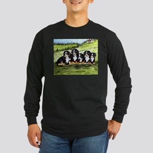 Bernese Moutain Dog Puppies Long Sleeve Dark T-Shi