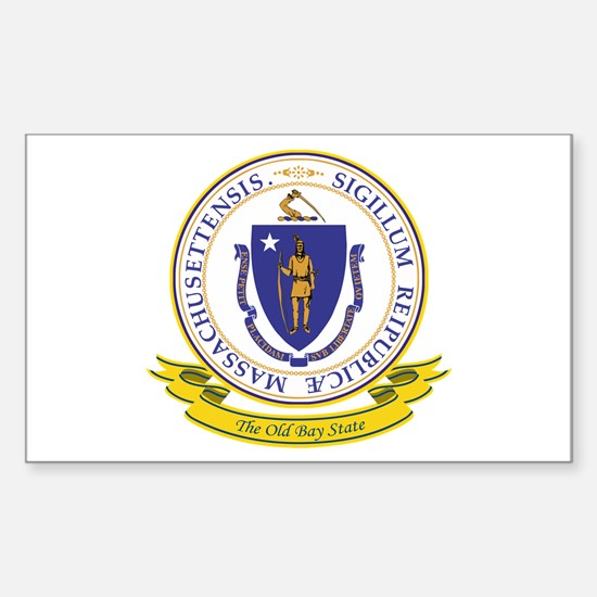 Massachusetts Seal Sticker (Rectangle)