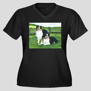 Austrailian Shepherd Tri Women's Plus Size V-Neck