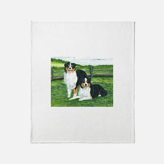 Austrailian Shepherd Tri Throw Blanket