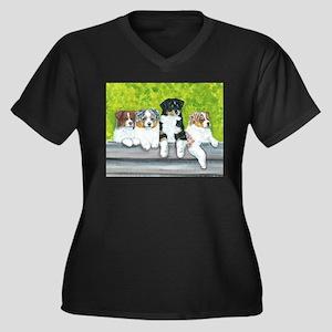 Austrailian Shepherd Puppy Li Women's Plus Size V-