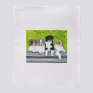 Austrailian Shepherd Puppy Li Throw Blanket
