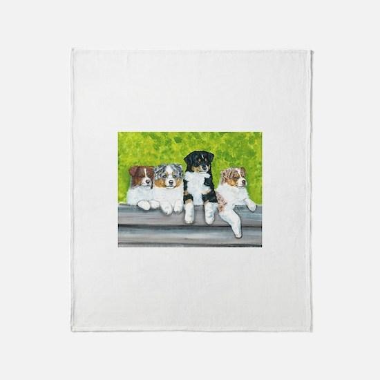 Austrailian Shepherd Puppy Li Throw Blanket