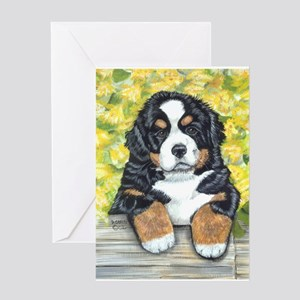 Bernese Mountain Dog Fence Pu Greeting Card
