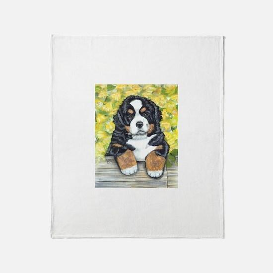 Bernese Mountain Dog Fence Pu Throw Blanket
