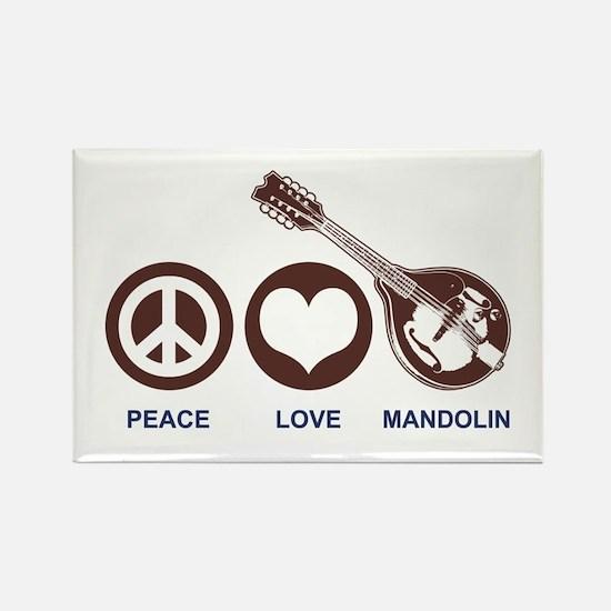 Peace Love Mandolin Rectangle Magnet