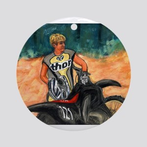 Dirt Biker in Thor Outfit Ornament (Round)