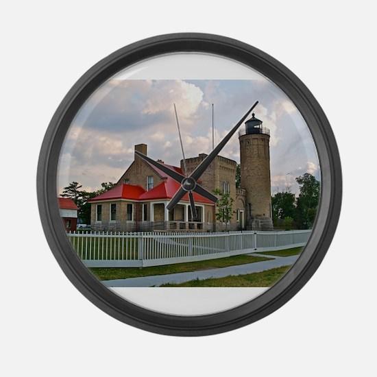 Mackinaw City Light house Large Wall Clock