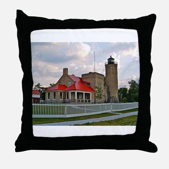 Mackinaw City Light house Throw Pillow