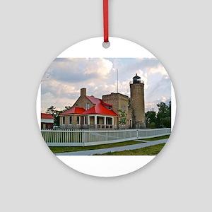 Mackinaw City Light house Ornament (Round)