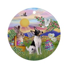 Toy Fox Terrier Easter Ornament (Round)