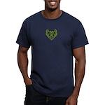 Green Scrolls Men's Fitted T-Shirt (dark)
