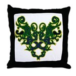 Green Scrolls Throw Pillow