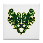 Green Scrolls Tile Coaster