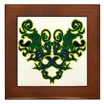 Green Scrolls Framed Tile