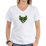 Green Scrolls Women's V-Neck T-Shirt