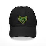 Green Scrolls Black Cap