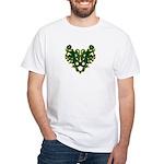 Green Scrolls White T-Shirt