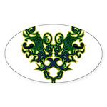 Green Scrolls Sticker (Oval 10 pk)