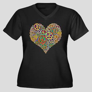 Cool Peace Sign Heart Women's Plus Size V-Neck Dar