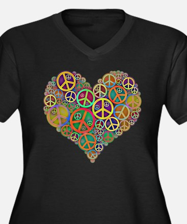 Cool Peace Sign Heart Women's Plus Size V-Neck Dar