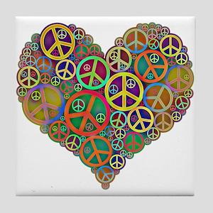 Cool Peace Sign Heart Tile Coaster