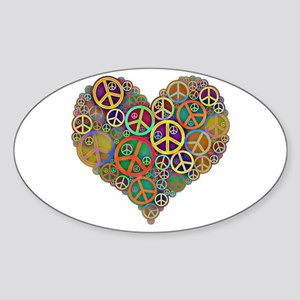 Cool Peace Sign Heart Sticker (Oval)