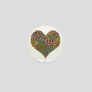 Cool Peace Sign Heart Mini Button