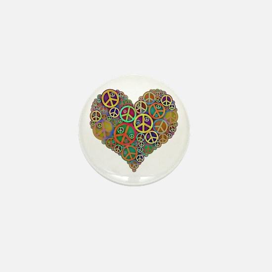 Cool Peace Sign Heart Mini Button