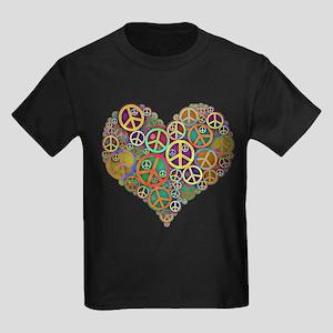 Cool Peace Sign Heart Kids Dark T-Shirt