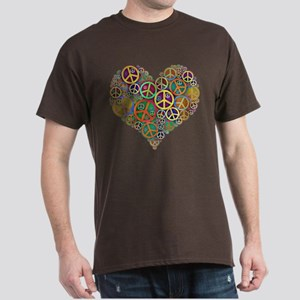 Cool Peace Sign Heart Dark T-Shirt