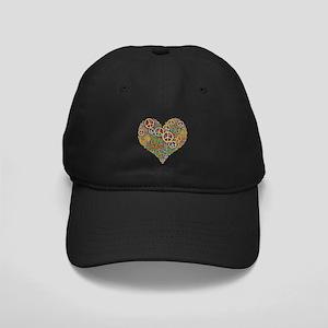 Cool Peace Sign Heart Black Cap