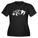 Snow Mountains Women's Plus Size V-Neck Dark T-Shi