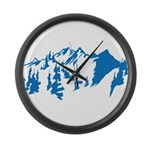 Snow Mountains Large Wall Clock