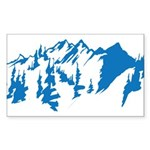 Snow Mountains Sticker (Rectangle)