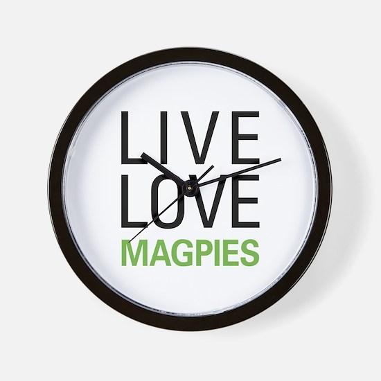 Live Love Magpies Wall Clock