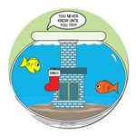 Fishbowl Christmas Round Car Magnet