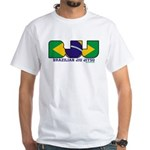 Brazilian flag colours BJJ White T-Shirt