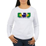 Brazilian flag colours BJJ Women's Long Sleeve T-S