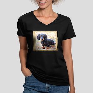Puppy Love Doxie Women's V-Neck Dark T-Shirt