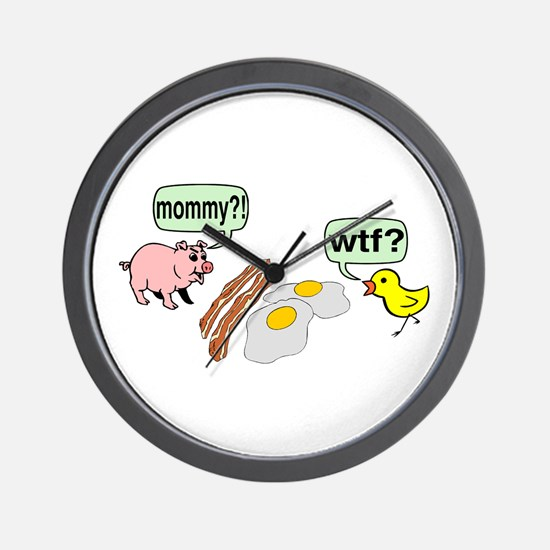 Bacon And Eggs Nightmare Wall Clock