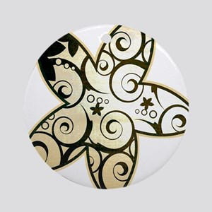 Old Paper Flowers Ornament (Round)