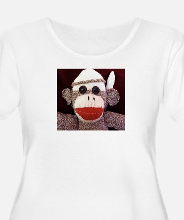 Ernie the Sock Monkey's Women's +Size Scoop Neck T