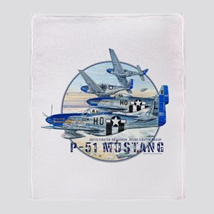 World War II P-51 Mustang Throw Blanket