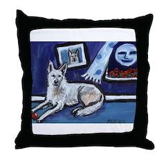 American White Shepherd smili Throw Pillow