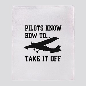 Pilots Know How To Take It Off Throw Blanket