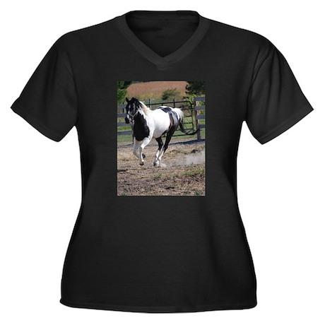 Horse/Pinto Black & White Women's Plus Size V-Neck