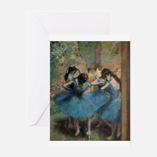 Dancers in blue by Edgar Degas Greeting Cards