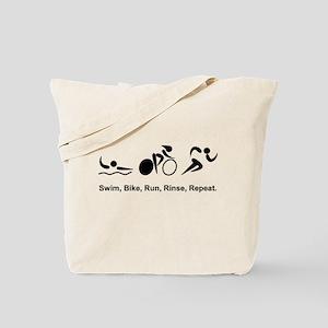 Swim, Bike, Run, Rinse, Repeat. Tote Bag